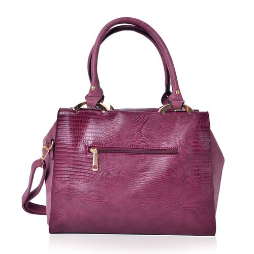 Rich Berry Snake Embossed Tote Bag with Adjustable and Removable Shoulder Strap (Size 32.5X29X26X11 Cm)