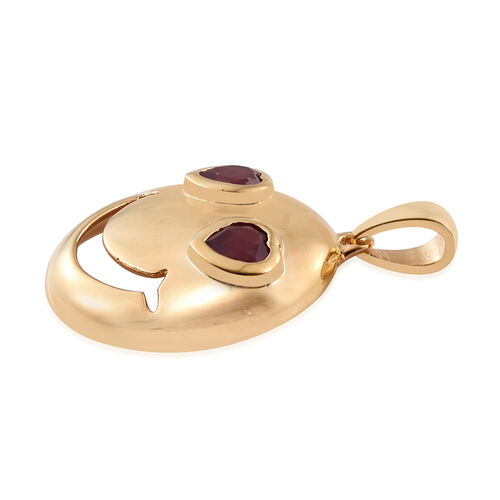 African Ruby (Hrt) Smiling Face with Heart-Eyes Smiley Pendant in Gold Overlay Sterling Silver