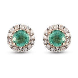 9K Yellow Gold Boyaca Colombian Emerald and Diamond Stud Earrings (with Push Back)