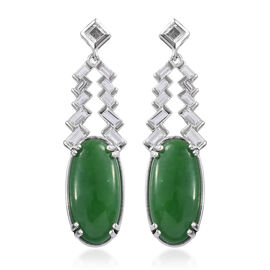 Green Jade (Ovl 20x10 mm), White Topaz Earrings (with Push Back) in Platinum Overlay Sterling Silver