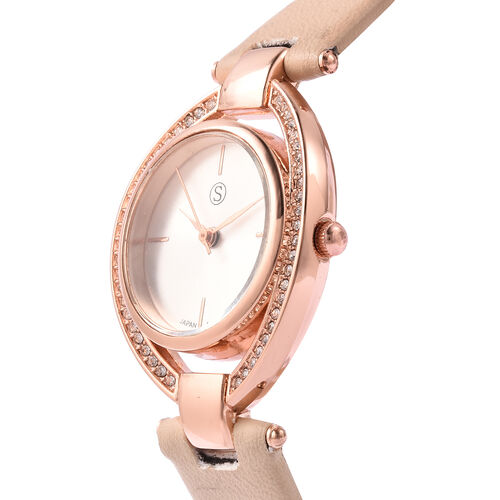 STRADA Japanese Movement White Austrian Crystal Studded Water Resistant Watch with Apricot Colour Strap
