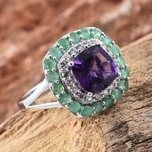 Lusaka Amethyst (Cush 2.00 Ct), Kagem Zambian Emerald and Natural Cambodian Zircon Ring in Platinum Overlay Sterling Silver 3.250 Ct.