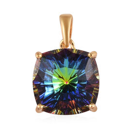 J Francis Crystal from Swarovski Vitrail Medium Crystal Solitaire Pendant in 14K Gold Overlay Sterli