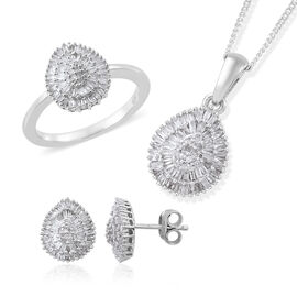 Diamond (Rnd and Bgt) Ring, Pendant with Adjustable Chain (Size 20) and Stud Earrings (with Push Back) in Platinum Overlay Sterling Silver 1.150 Ct. Silver wt 6.01 Gms. Number of Diamonds 292