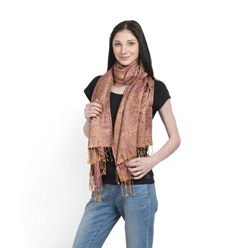 SILK MARK- 100% Superfine Silk Golden, Pink and Multi Colour Jacquard Jamawar Scarf with Fringes (Si