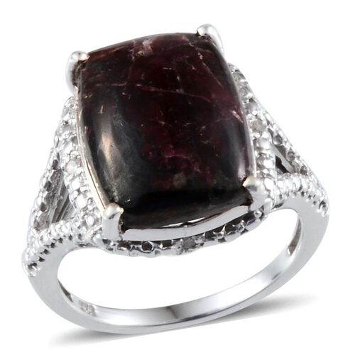 Natural Russian Eudialyte (Cush 8.00 Ct), Diamond Ring in Platinum Overlay Sterling Silver 8.050 Ct.