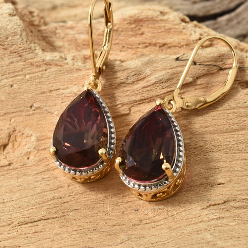 Finch Quartz (Pear) Earrings (With Lever Back) in 14K Gold Overlay Sterling Silver 10.000 Ct.