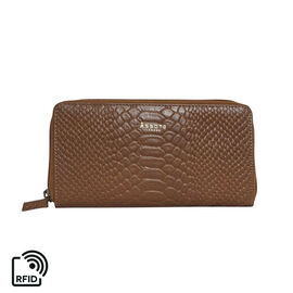 Assots London HAZEL Python Embossed Genuine Leather RFID Zip Around Purse (Size 20x2x10 Cm) - Tan