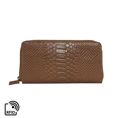 Assots London HAZEL Python Embossed Genuine Leather RFID Zip Around Purse (Size 20x2x10 Cm) - Tan