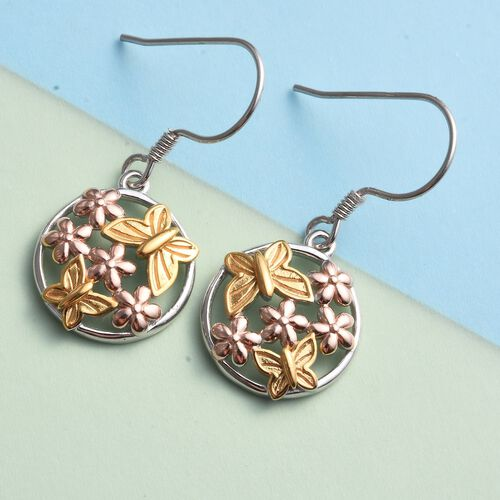 Platinum, Yellow and Rose Gold Overlay Sterling Silver Butterfly with Flower Hook Earrings