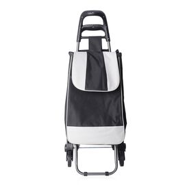 Black and White Tri Wheeled Leisure Shopping Trolley With Fold Down Seat (Size 95x38x51.5cm) - Strip