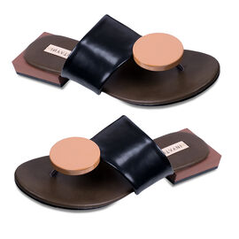 Inyati Giana Open Toe Slip On Sandals in Black and Tan Colour