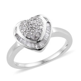 Diamond (Rnd and Bgt) Heart Ring in Platinum Overlay Sterling Silver 0.330 Ct.