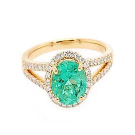 ILIANA 18K Yellow Gold AAA Boyaca Colombian Emerald (Rnd 7.5mm), Diamond (SI/G-H) Ring 2.20 Ct.