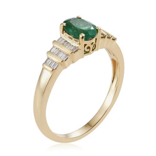 Limited Edition- 9K Yellow Gold AA Kagem Zambian Emerald (Rare Size Ovl 8X6 mm1.00 Ct), Diamond Ring 1.250 Ct.