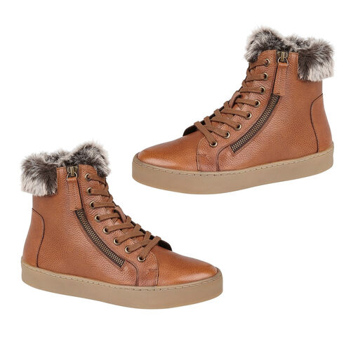 Lotus Siobhan Leather Stressless Sneakers with Faux Fur Lining (Size 7) - Tan