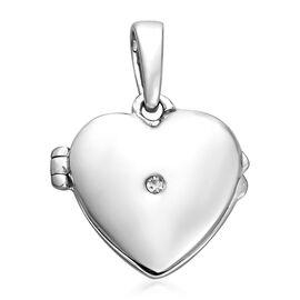 Diamond Open Heart Locket Pendant Platinum Overlay Sterling Silver 0.02 Ct.