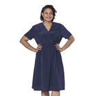 LA MAREY Vintage Style Polka Dot Print Wrap Dress in Navy (Size L, 16-18)