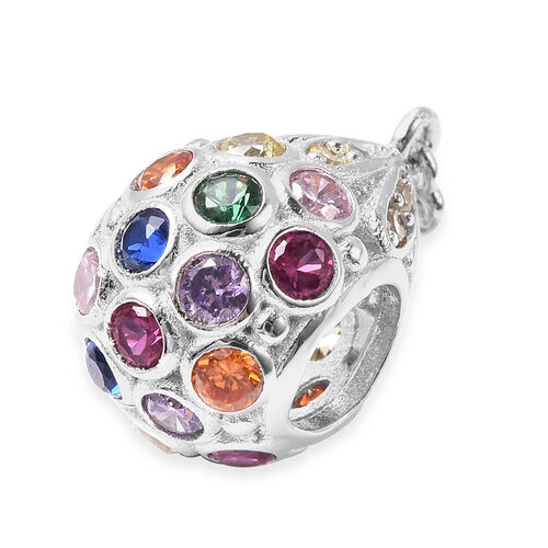 Charmes De Memoire - Simulated Yellow Sapphire and Multi Gemstone Charm in Rhodium Overlay Sterling Silver