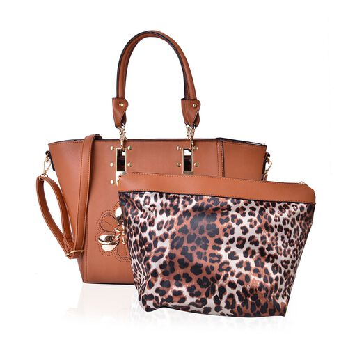 Set of 2 - Tan Colour Floral Design Handbag (Size 46X30X30X11 Cm) and Chocolate and Tan Colour Leopard Pattern Handbag (Size 30X24X12 Cm) with Adjustable and Removable Shoulder Strap