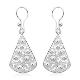 Royal Bali Collection - Sterling Silver Fancy Hook Earrings, Silver wt 3.18 Gms