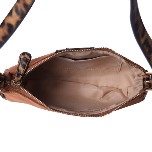 Designer Inspired - Camel Bag with Leopard Pattern Shoulder Strap