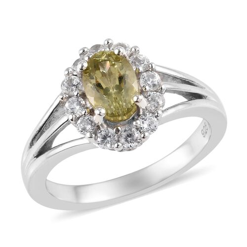 1.34 Ct AA Madagascar Yellow Apatite and Zircon Ring in Platinum Plated Silver