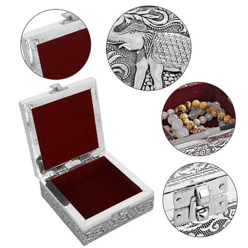 3D Embossed Collection Handcrafted Elephant Oxidised Jewellery Box (Size 12.7x12.7 Cm) with Wine Red Velvet Interior