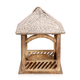 Handmade Mango Wood Carved Hanging Bird Feeder - Natural & White Finish