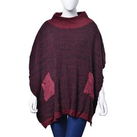 Burgundy and Black Colour Knitted Winter Poncho with 2 Pockets Size 85x60 Cm