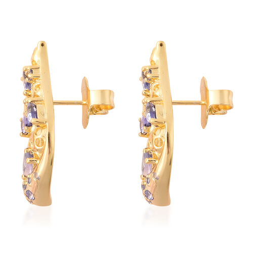 RACHEL GALLEY Misto Collection - Tanzanite Earrings (with Push Back) in Yellow Gold Overlay Sterling Silver 2.23 Ct.