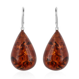 Baltic Amber Big Size Pear Cut Earrings Sterling Silver