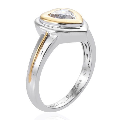 J Francis - Platinum and Yellow Gold Overlay Sterling Silver (Hrt) Heart Ring Made with SWAROVSKI ZIRCONIA