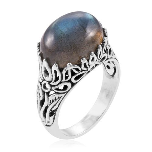 Royal Bali Collection Labradorite (Ovl) Filigree Ring in Sterling Silver 10.490 Ct. Silver wt 5.80 Gms.