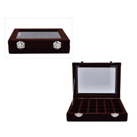 24 Sections Jewellery Box Organiser with Velvet Lining and Transparent Window (Size 20x15x4.5cm) - C