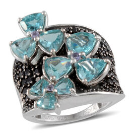 Paraibe Apatite (Trl), Boi Ploi Black Spinel and Tanzanite Ring in Rhodium Overlay Sterling Silver 7.75 Ct.