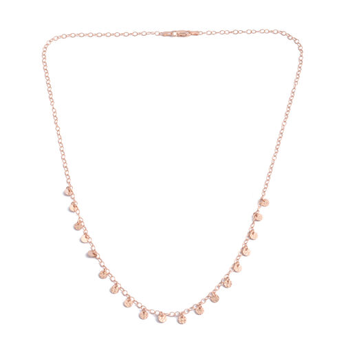 Rose Gold Overlay Sterling Silver Multi Disc Necklace (Size 20), Silver wt 3.80 Gms.