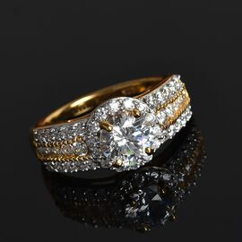 J Francis Made with SWAROVSKI ZIRCONIA Cluster Ring in Gold Plated Sterling Silver