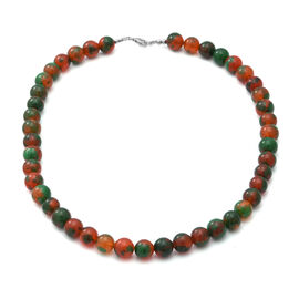 One Time Deal-Multi Shade Carnelian Beads Necklace (Size 18) in Sterling Silver 289.00 Ct.