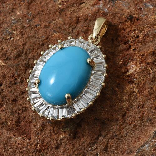9K Yellow Gold AAA  Arizona Sleeping Beauty Turquoise (Ovl), Natural White Cambodian Zircon Pendant 10.000 Ct