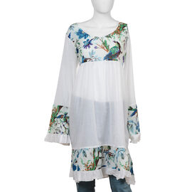 100% Cotton Dress with Printed Yoke, Sleeves and Bottom Hem in White, Blue and Multi Colour