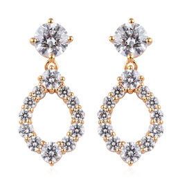 J Francis Made with SWAROVSKI ZIRCONIA Drop Earrings in Gold Plated Sterling Silver