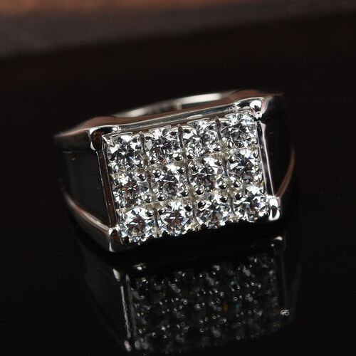 J Francis - Platinum Overlay Sterling Silver Cluster Mens Ring Made with SWAROVSKI ZIRCONIA 1.68 Ct, Silver wt 7.00 Gms