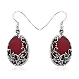 Royal Bali Collection - Sponge Coral Floral Hook Earrings in Sterling Silver, Silver wt 3.51 Gms