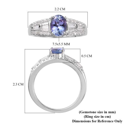 Premium Tanzanite and Natural Cambodian Zircon Ring in Platinum Overlay Sterling Silver 1.82 Ct.