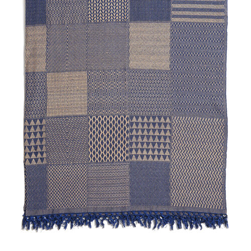 100% Cotton Hand Woven Beige and Royal Blue Patch Look Jacquard Bedcover with Fringes (Size 270x220 Cm)