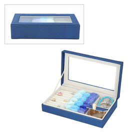 Shimmering Jewellery Box (25.4x5x15.2cm) with Matching Soap Flowers (12 Pcs) - Blue