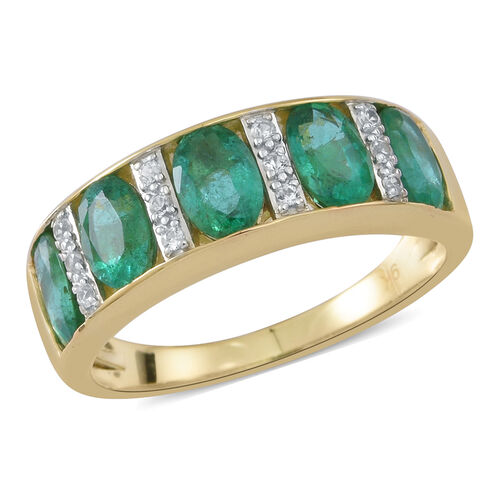 2.12 Ct Zambian Emerald and White Zircon Half Eternity Band Ring in 9K Gold 3.85 Grams