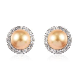 South Sea Pearl and Natural Cambodian Zircon Stud Earrings (with Push Back) in Platinum Overlay Ster