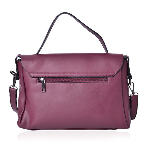 Burgundy and Pink Colour 3D Flowers Embellished Crossbody Bag with Adjustable and Removable Shoulder Strap (Size 29X20.5X8 Cm)